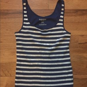 Old Navy Women's Sparkle Tank, Navy/White, Medium